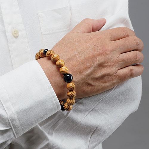 屋久杉と虎目石の念珠ブレス