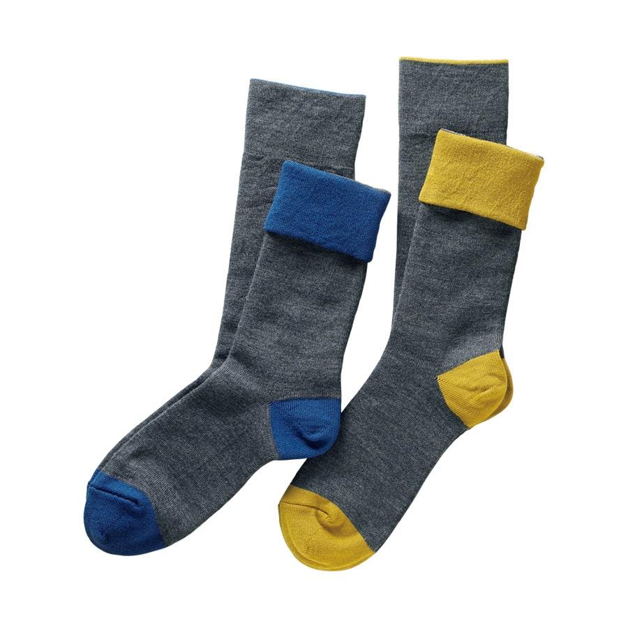 1枚でも重ね履きシルクとウールの折り返し靴下 同色2足組