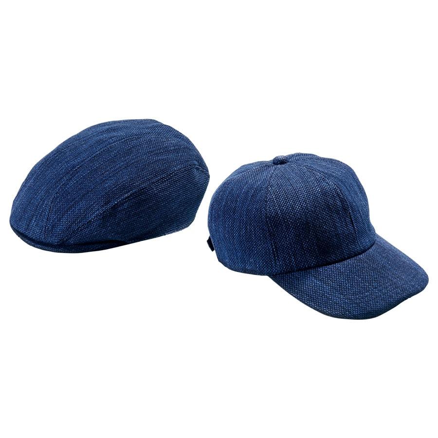 武州正藍染刺子のキャップとハンチング