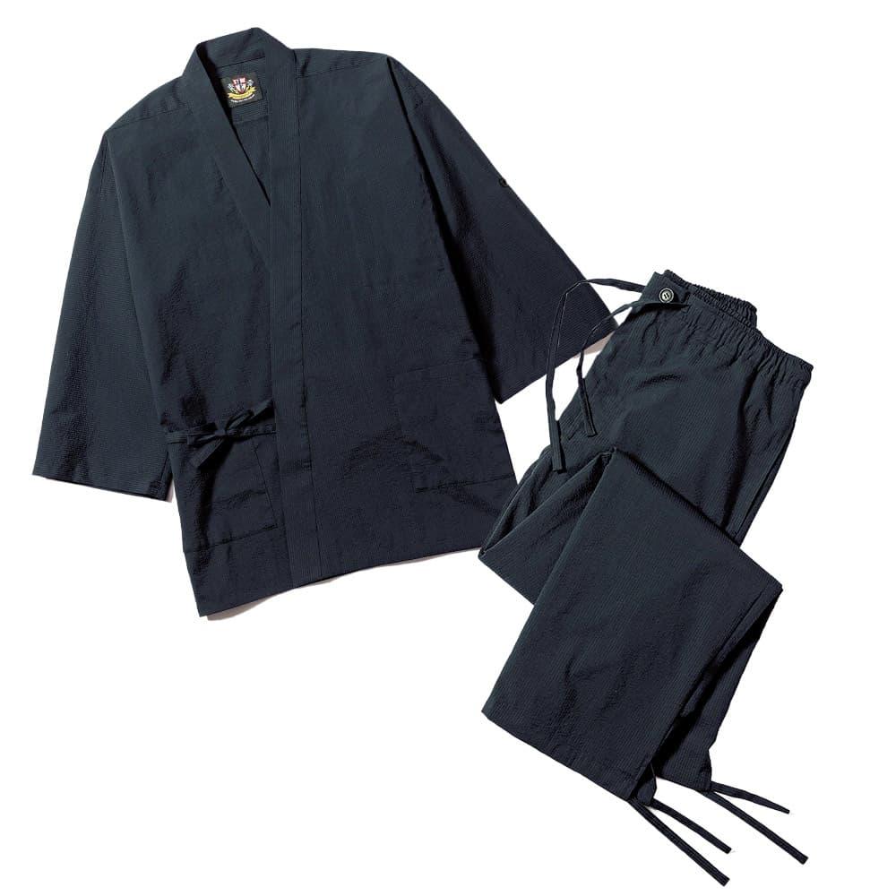 シアサッカー作務衣