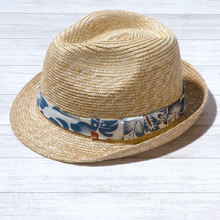 アロハ柄麦わら帽子