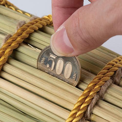 米俵の貯金箱「萬福俵」