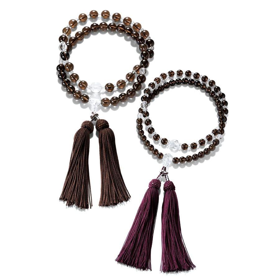 スモーキークォーツと水晶の二輪念珠「縁」念珠袋付き