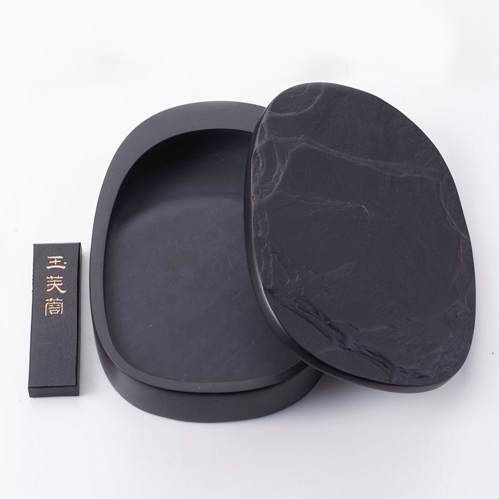 土佐硯 小判型蓋つき天然硯