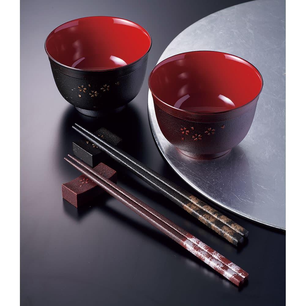 土佐古代塗の汁椀と箸