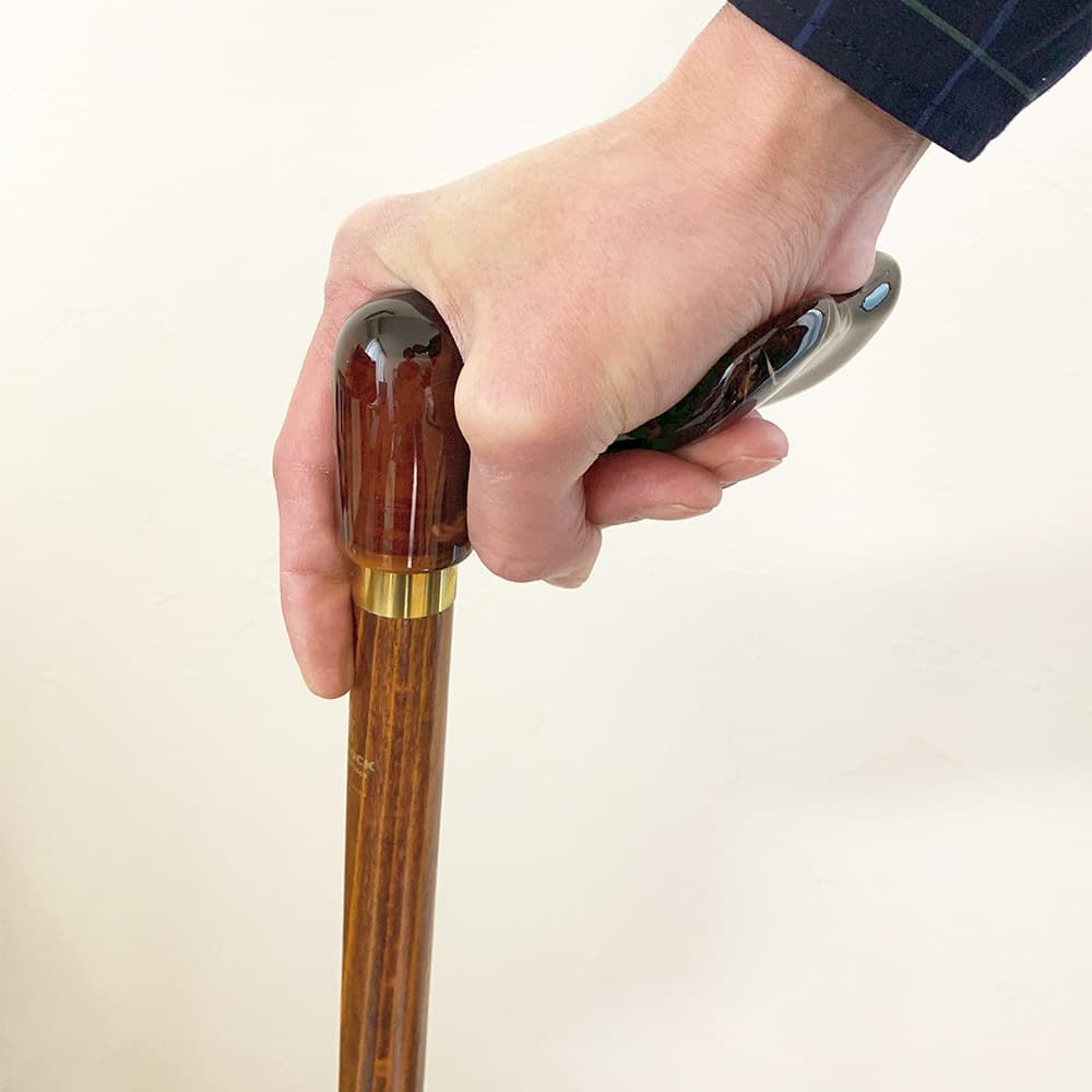 掌がおける楽な杖フィッシャーグリップステッキ