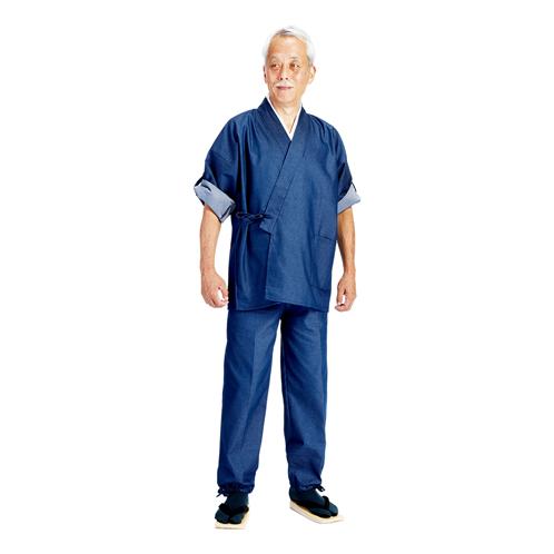 デニムのロールアップ袖作務衣