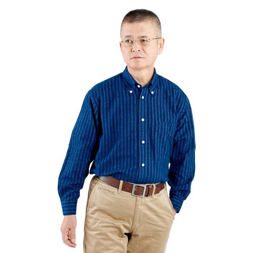 縞柄綿フラノシャツ