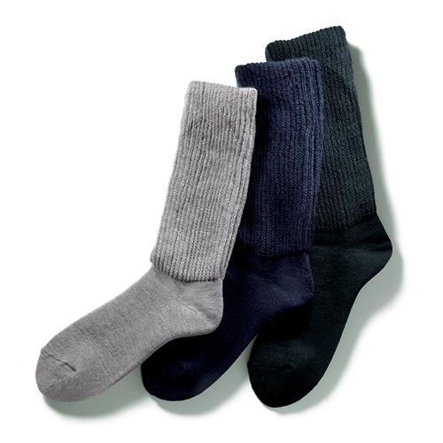 口ゴム超ゆったりパイル靴下 同色2足組
