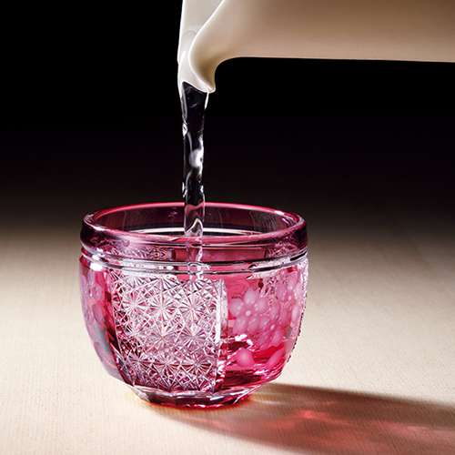 江戸切子の桜の酒杯