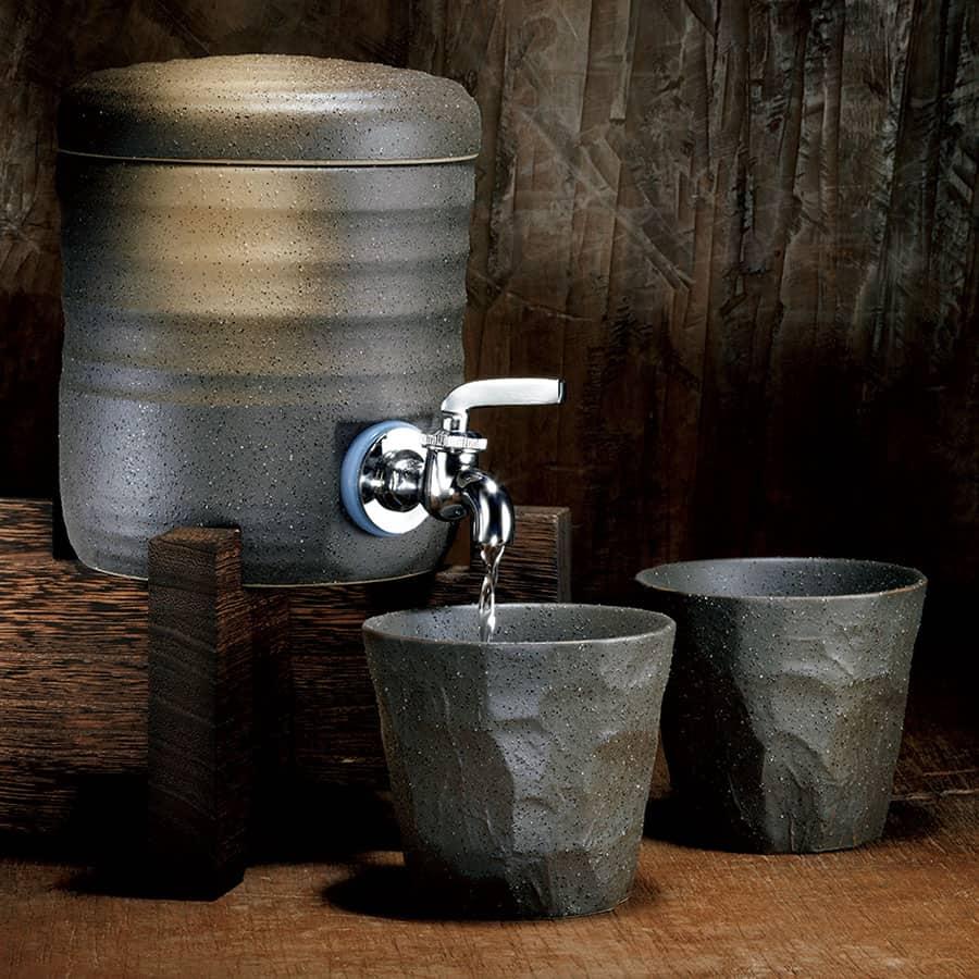 美濃焼の木台付き焼酎サーバーセット