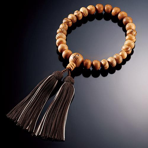 屋久杉の名前入り片手念珠 念珠袋付き