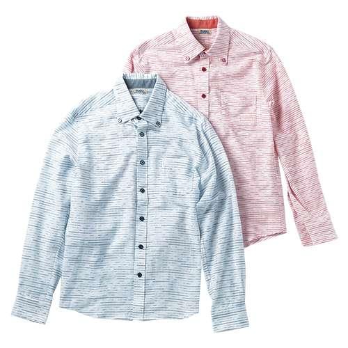 久留米絣のボタンダウンシャツ