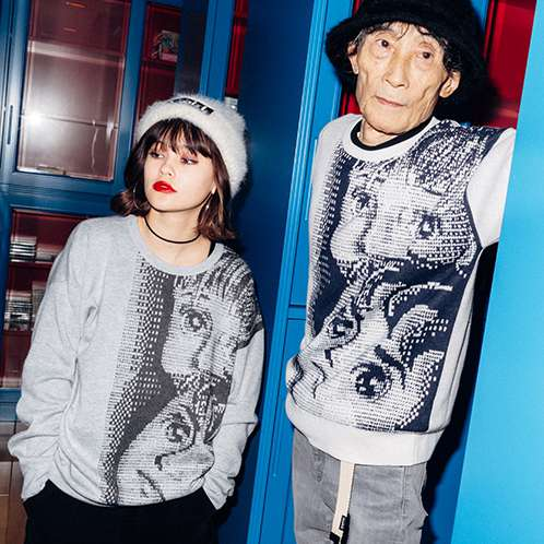 X-girl×KAZUO UMEZZ 「わたしは真悟」 CREW NECK KNIT TOP