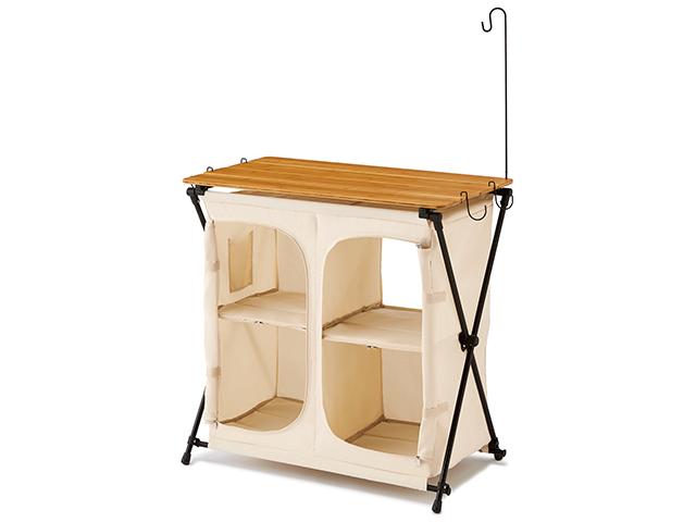 棚を開け閉めできるからスッキリ美しい!竹の天板のキッチンカウンター