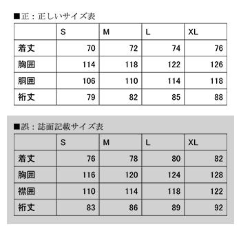 サイズ表の訂正